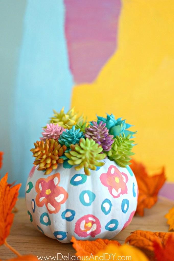 floral faux succulent pumpkim