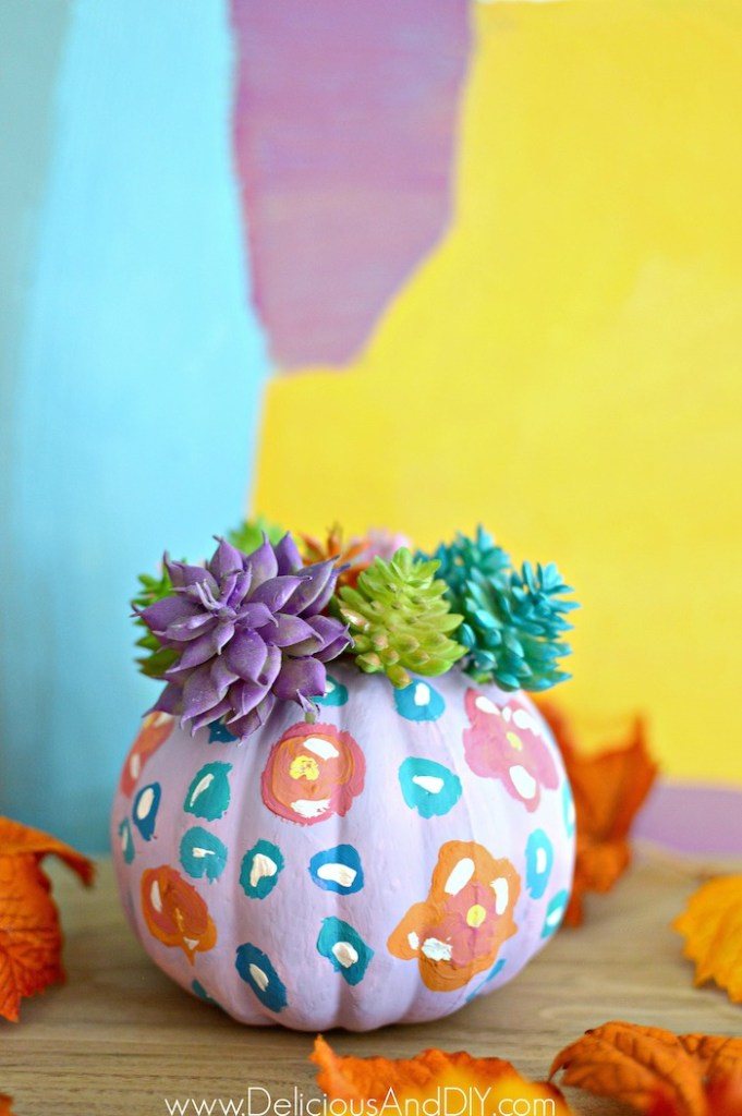 painted floral foam pumpkins