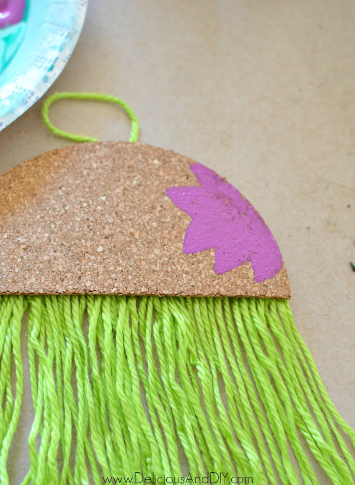 floral painted diy cork ornament