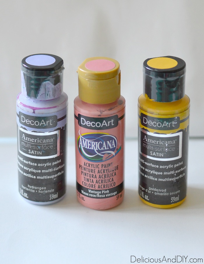 colorful paints to be used on heart shape box