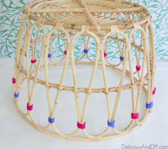 wrap yarn around the joints of the basket
