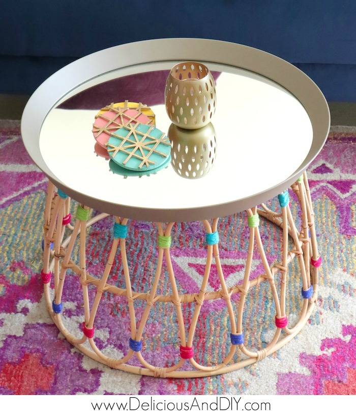 stunning diy ikea coffee table made with mirror and basket