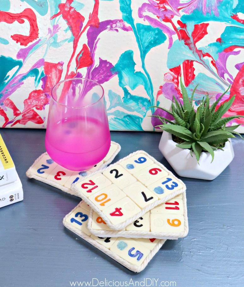 diy board game coasters with yarn