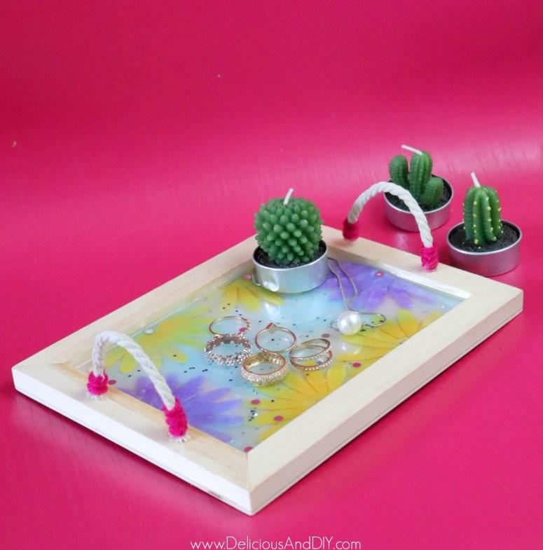 resin felt flower jewelry tray