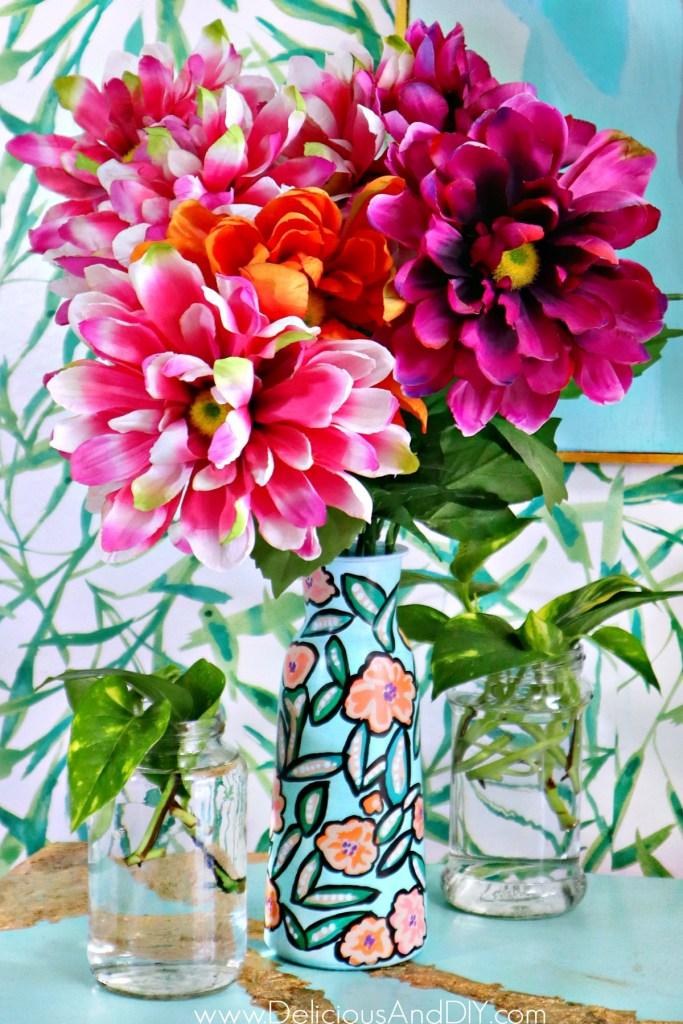 spring painted floral vase