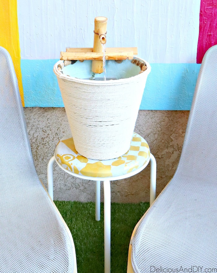 water fountain feature using bamboo fountain kit