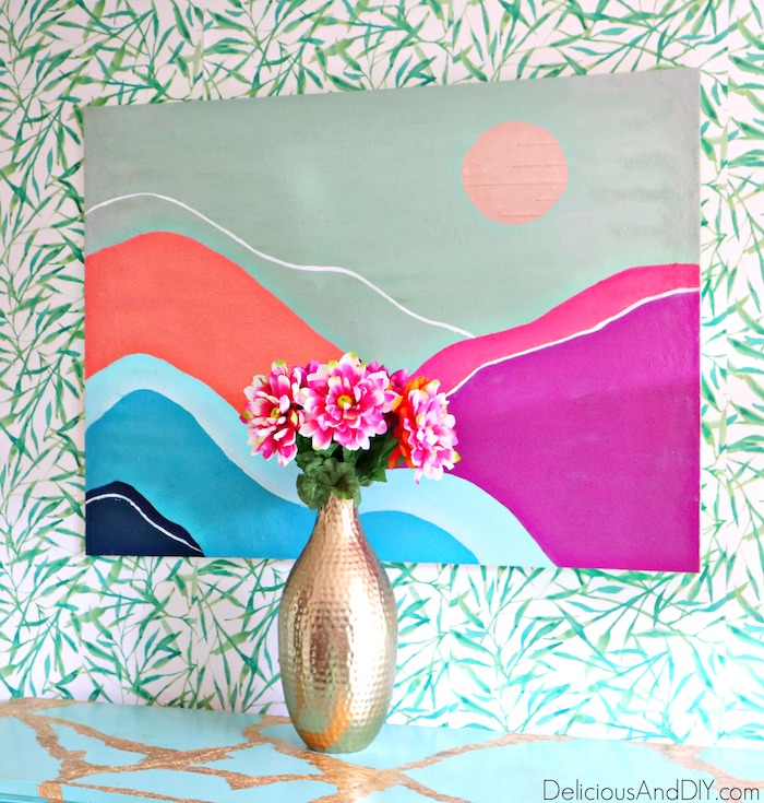 colorful abstract mountains art