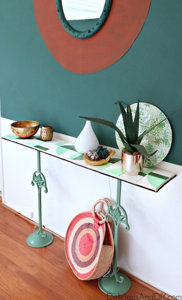 painted candlestick stand console table