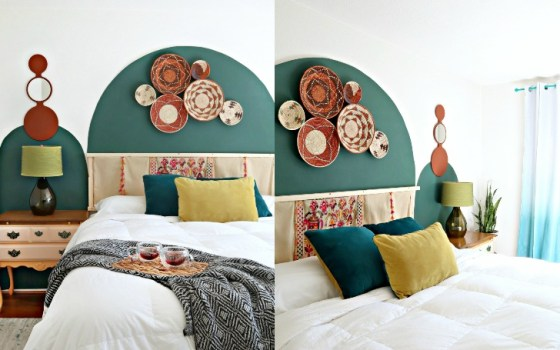 boho chic arch wall bedroom makeover