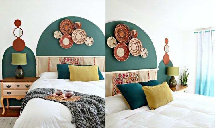 Boho Painted Arch Wall Bedroom Makeover
