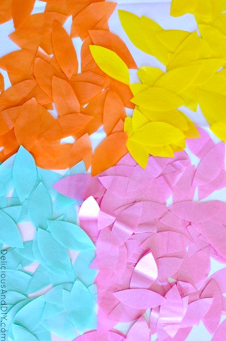 colorful tissue paper pieces