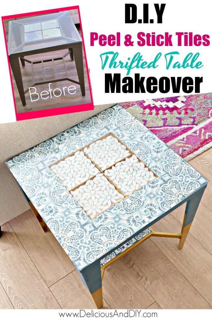 diy peel and stick thrifted table makeover