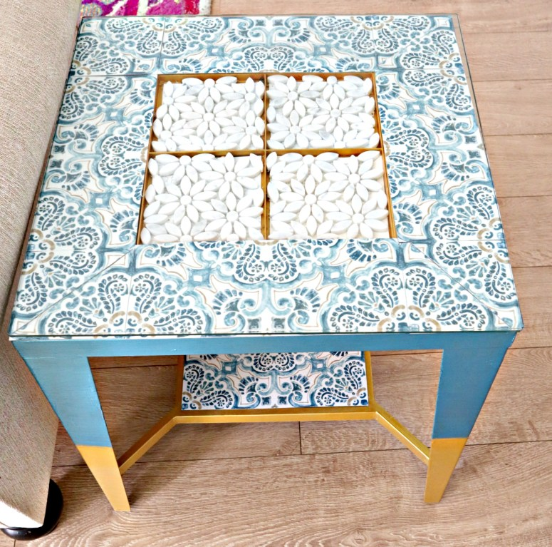removable flooring tile thrifted table makeover