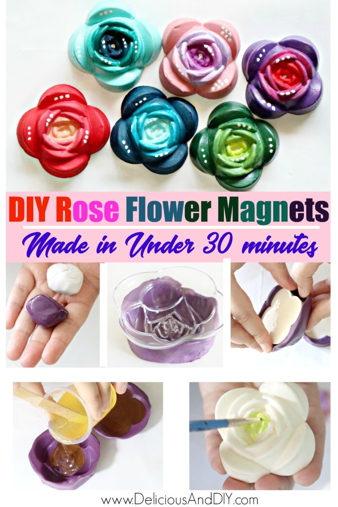 gradient rose flower magnets using silicone mold and fastcast resin