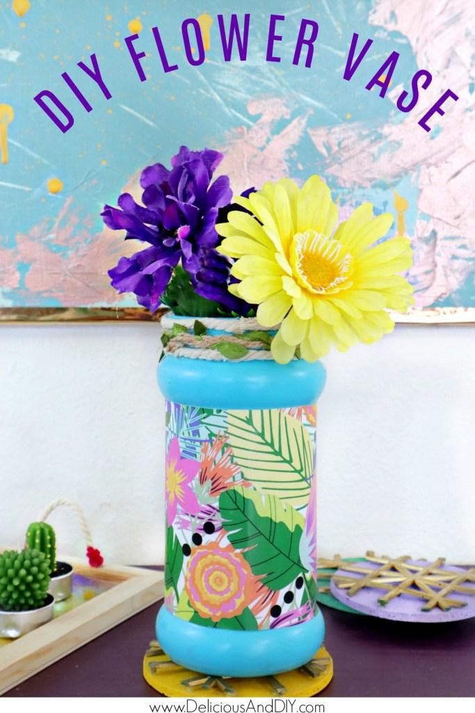diy decoupaged flower bottle
