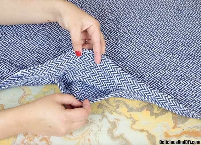 keep an opening in the throw pillow cover to add stuffing