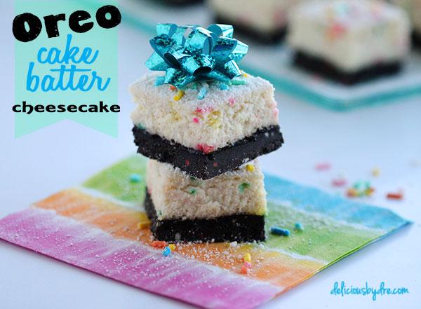 oreo cake batter cheesecake bars