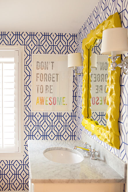 Bathroom Decor Bright Yellow Mirror Sconces Lamps Don't Forget To Be Awesome Wall Hanging Picture Print Home Interior Design