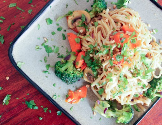 Vegetarian Dan Dan (-ish) Noodles - customize this tasty noodle dish with whatever vegetables you like, in a delicious peanut sauce!