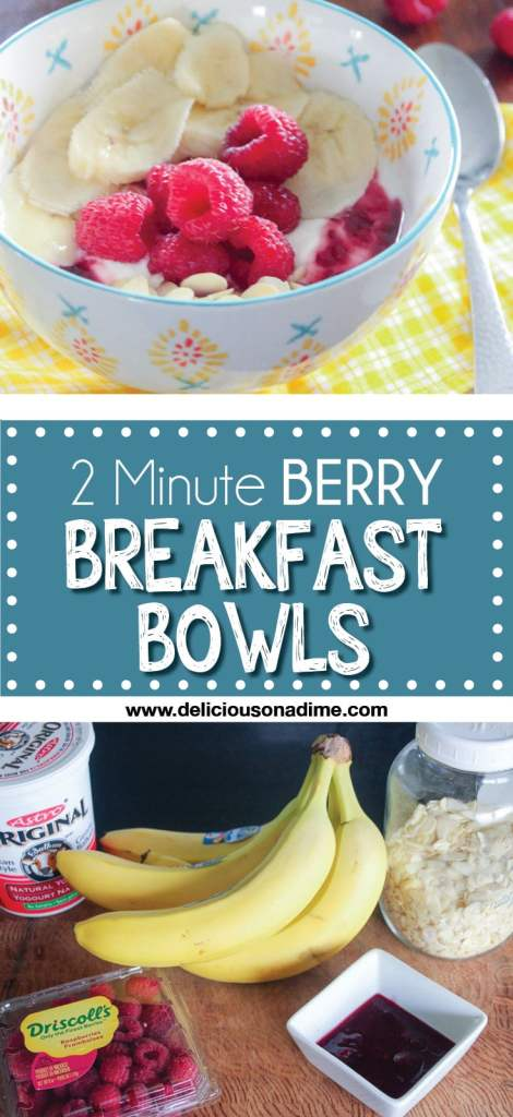 These Two Minute Yogurt and Berry Breakfast Bowls are healthy, fast and a great way to refresh your morning meal!
