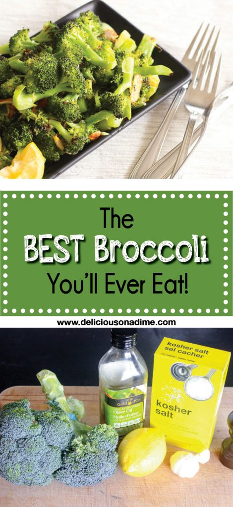 This oven roasted broccoli recipe combines Parmesan cheese, garlic and lemon in one delicious and healthy dish. It's a pared down, cheaper version of Ina Garten's famous roasted broccoli, but every bit as tasty. Good enough to convert even the biggest broccoli hater!