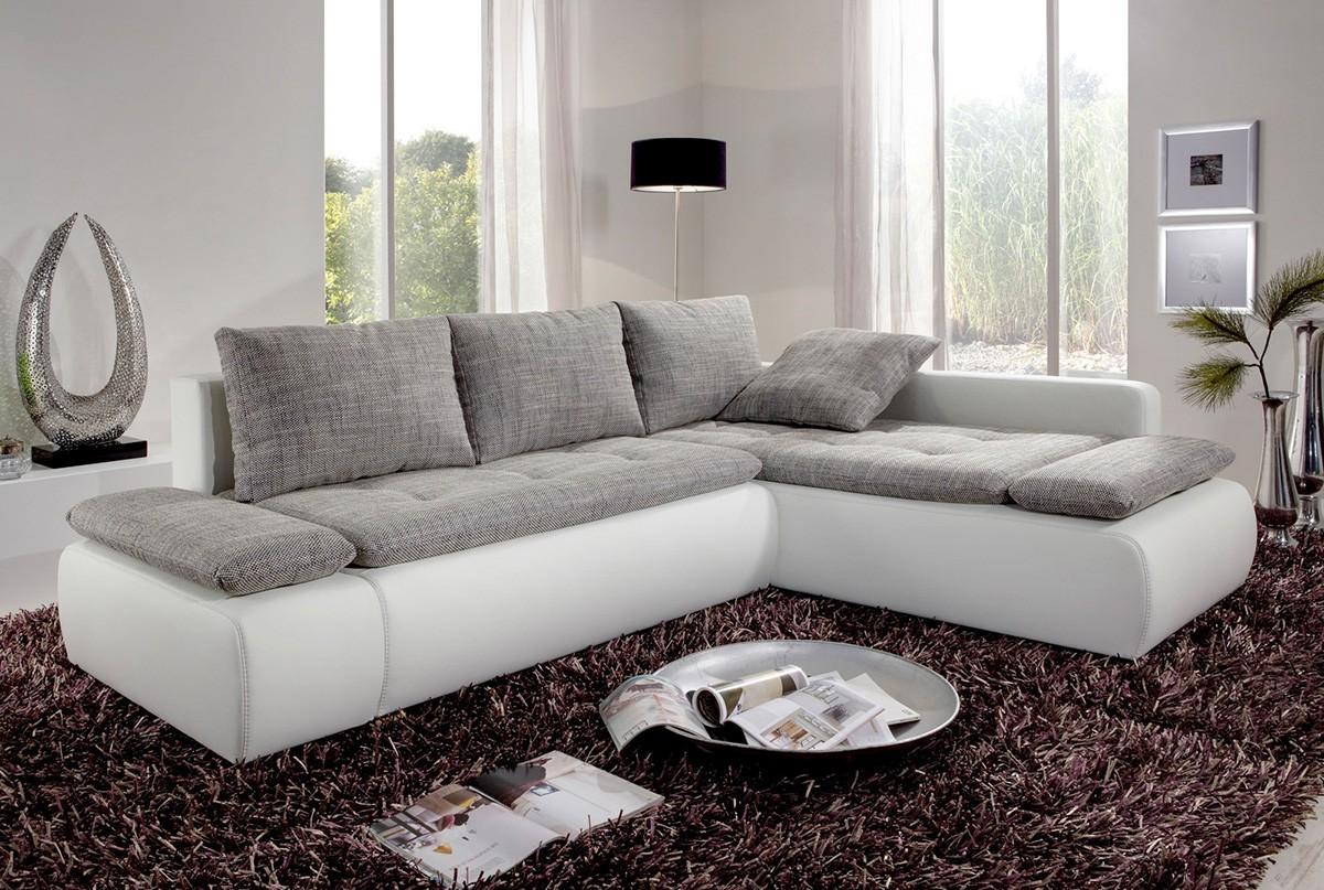 Sofa Bueno Weiss 260x185 cm Grau Couch mit Schlaffunktion