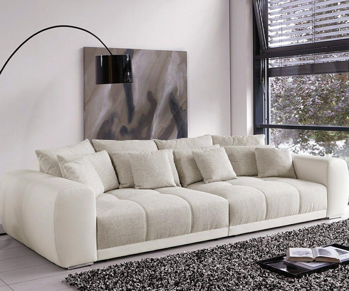 Big Sofa Valeska 310x135 cm Grau Beige mit 12 Kissen Mbel