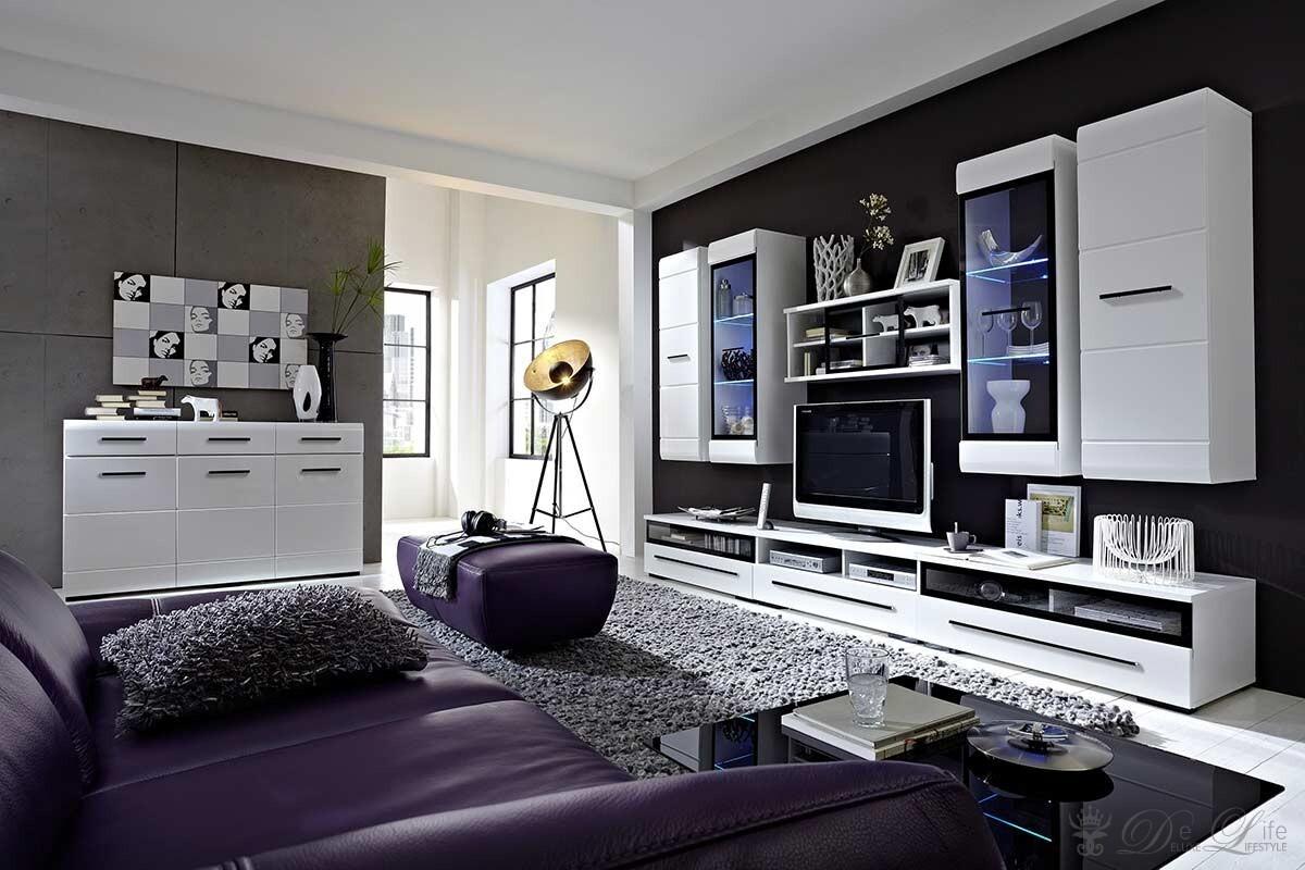Wohnzimmer Linus 300x200cm Weiss Hochglanz Wohnwand  Kommode  eBay