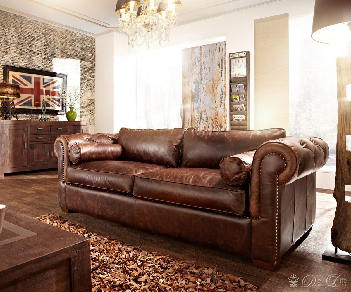Sofa Chesterfield 240x115cm Dunkelbraun Echtleder 3Sitzer Couch Lounge Sofa NEU  eBay
