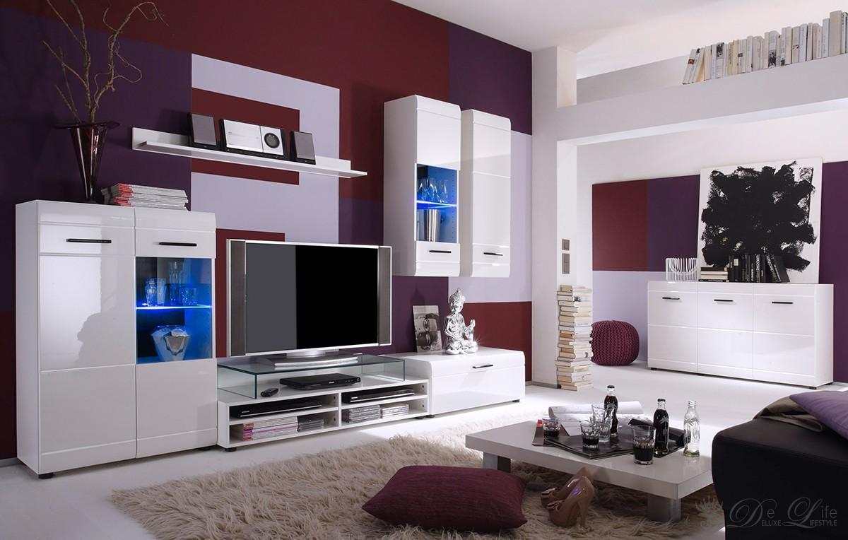 Wohnzimmer Parana Weiss Hochglanz Wohnwand 270 cm