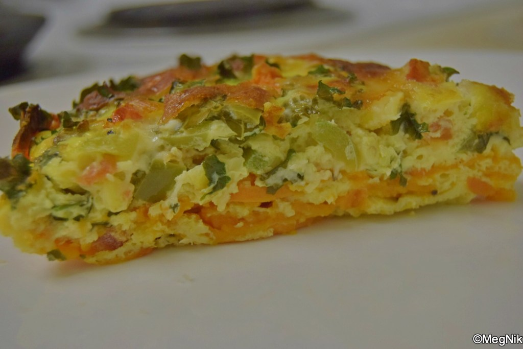 Sweet Potato Crusted Quiche cross-section view