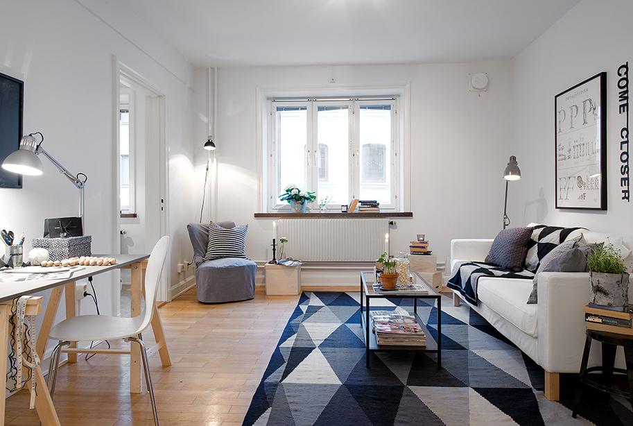 Mini piso de 40 m de estilo escandinavo blog tienda - Ideas para decorar un piso pequeno con poco dinero ...
