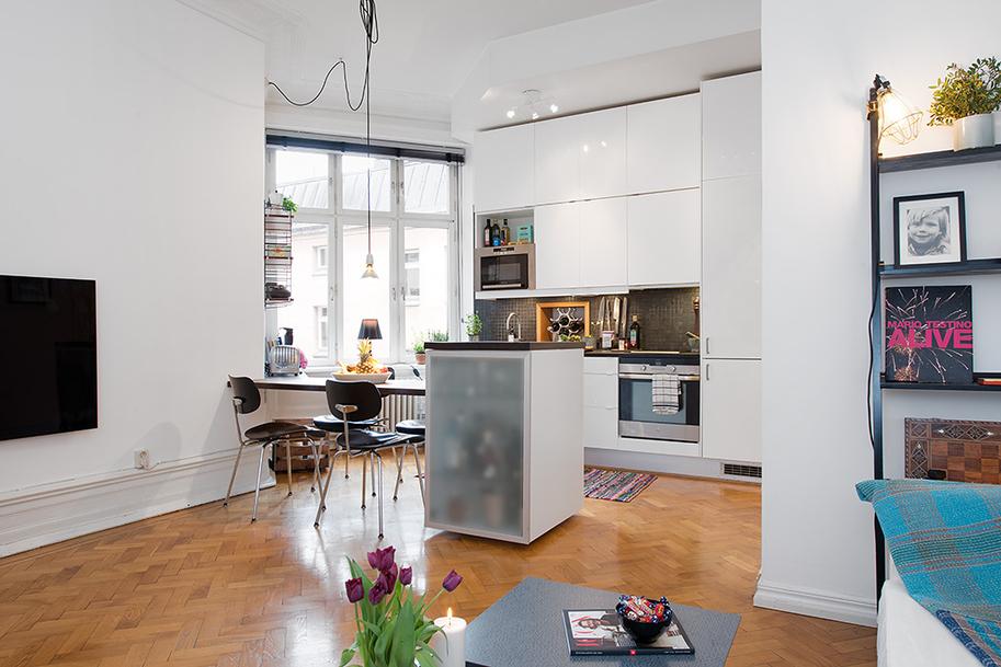 Distribuci n piso peque o de 43 m blog tienda decoraci n estilo n rdico delikatissen - Decoracion pisos pequenos ...