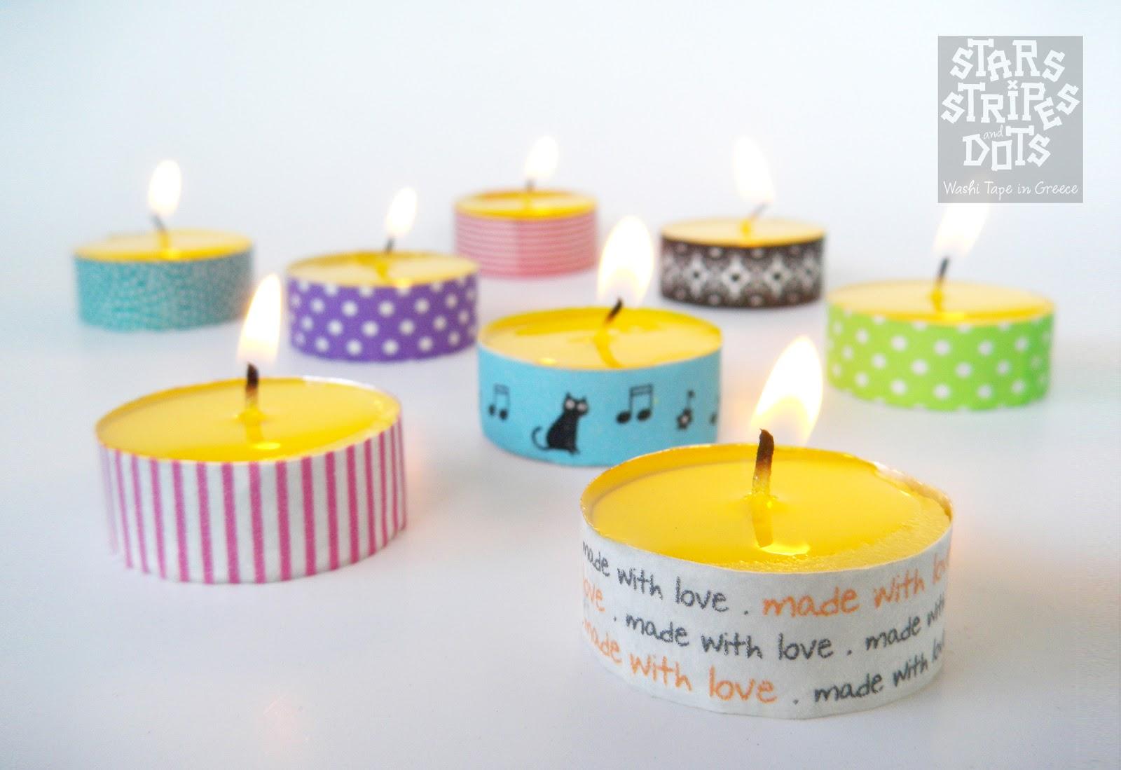 Diy velas peque as decoradas con washi tape blog - Decoracion con washi tape ...