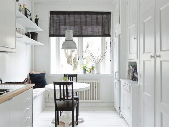 interiores espacios pequeños inspiración muebles ikea estilo y diseño nórdico escandinavo Decorar con papel de pared floral y en simetría decoración en blanco decoracion dormitorios cocinas blancas pequeñas blog decoración interiores nórdicos escandinavos