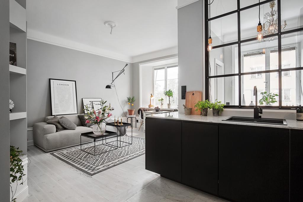 Piso peque o con paredes grises blog tienda decoraci n for Decoracion piso blanco