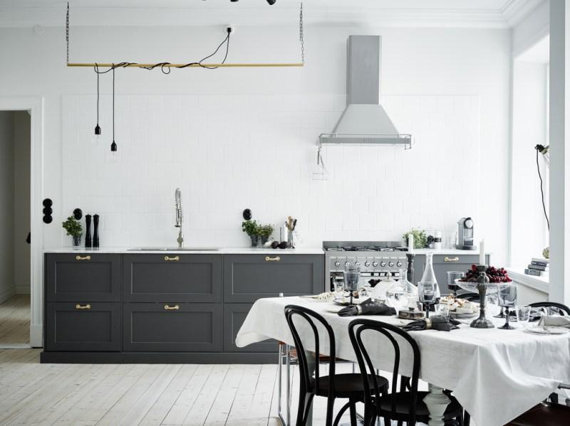 Elegante cocina de madera gris y encimera de mármol - Blog tienda ...