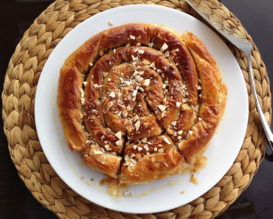 Tarta espiral de manzana con masa filo