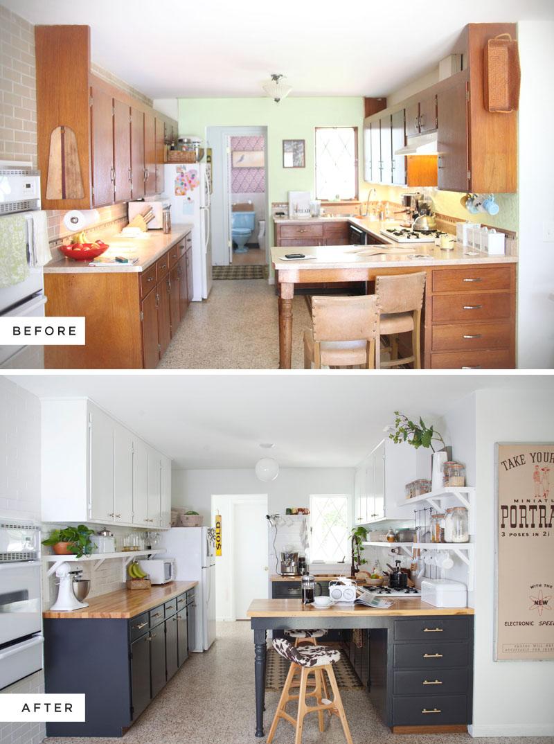 Antes despu s cocina nueva con pintura blog tienda Cocinas antiguas