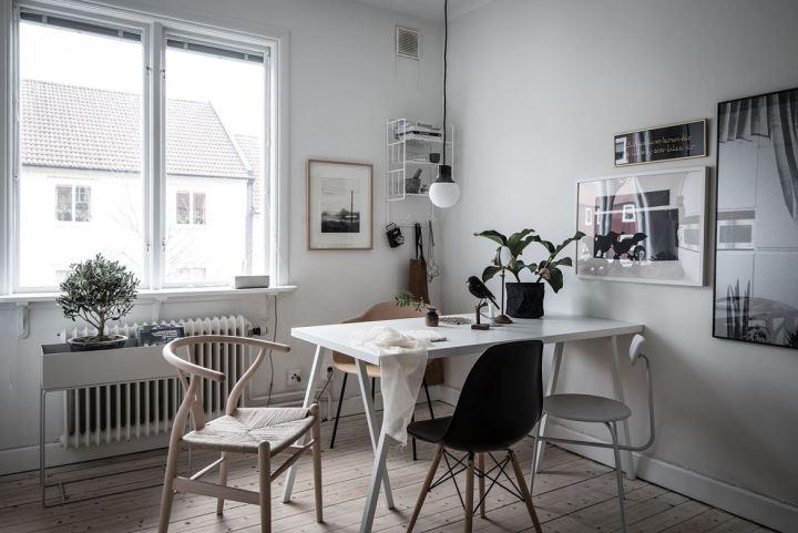 sillas de diseño muebles de diseño mini dúplex nórdico madera natura interiores espacios pequeños estilo nórdico moderno decoración dúplex cocina nórdica ch24 eames fritz hansen muuto ikea blog decoración diseño nórdico