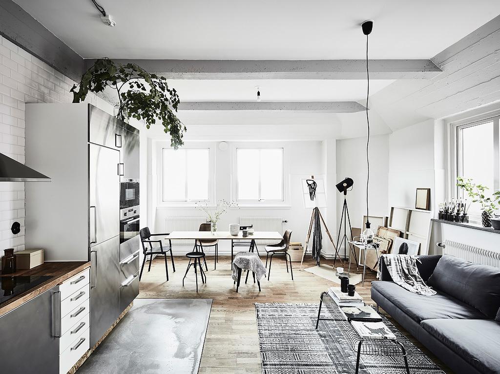 Mini piso para un artista blog decoraci n estilo n rdico for Mesa supletoria cocina