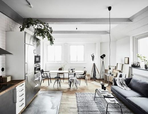 blog decoracion interiores, decoración en neutros, decoración mini pisos, espacios diáfanos, estilo nórdico escandinavo, interiores pequeños, Mini piso para un artista, salón cocina abierta