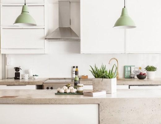 blog decoracion interiores, cemento pulido suelos encimeras, distribución diáfana, Encimera de hormigón, estilo nórdico, interiores pisos pequeños, revestimientos de interior