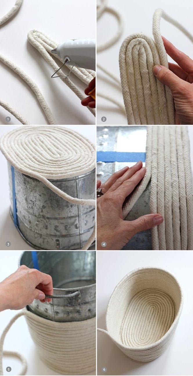 manualidades bricolaje DIY - Cesta de cuerda diy decoración nórdica cestas hechas a mano blog diy