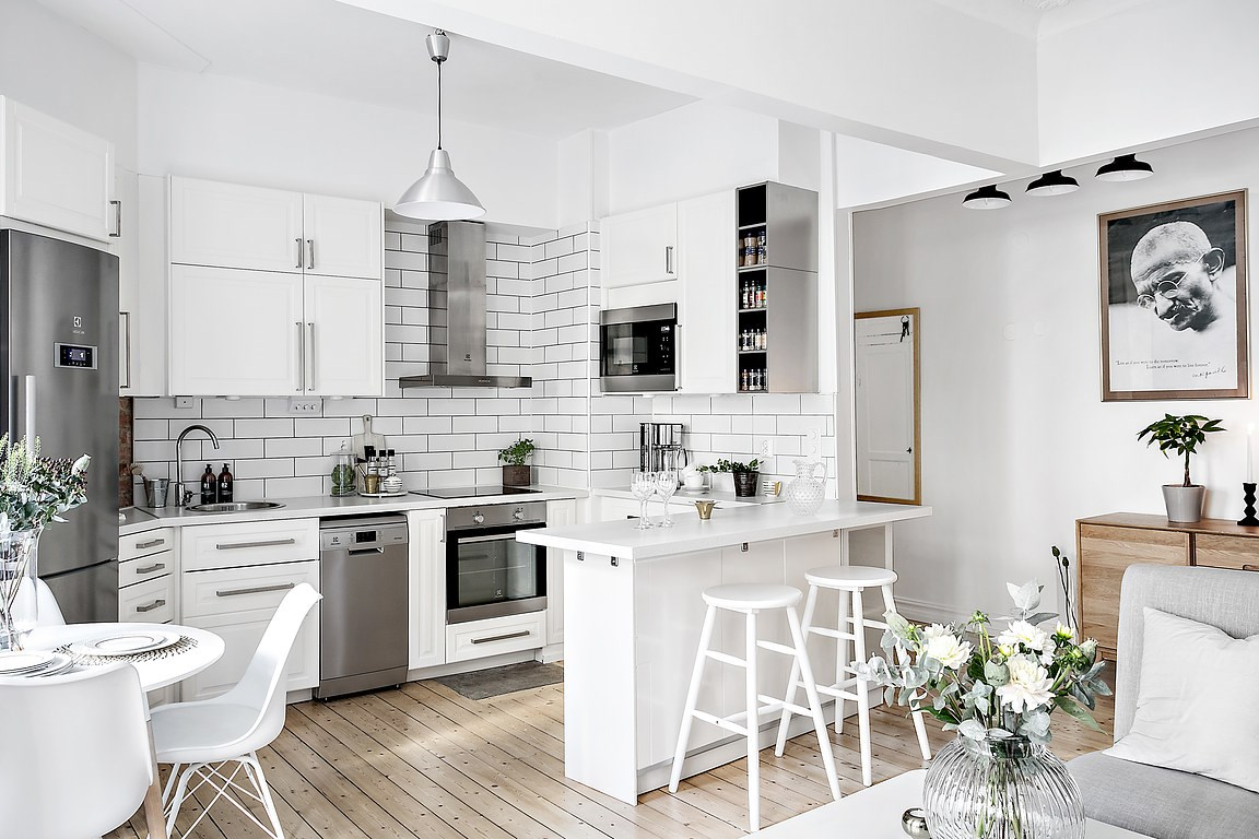 Cocina abierta en un piso peque o blog tienda decoraci n for Decoracion piso en blanco