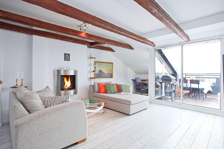 vigas en el techo mini pisos estilo nordico sueco distribucin abierta difana decoracin ticos blog decoracin - Decoracion Aticos