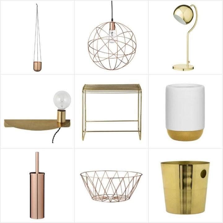 tiendas interiores oro cobre latón hogar diseño nórdico diseño danés complementos hogar bloomingville blog decoración nórdica accesorios metal accesorios hogar