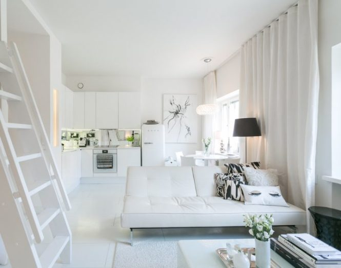 walk in closet vestidor en minipiso puro blanco decoración estilo escandinavo distribución diáfana decoración pisos pequeños deco total white cama en altillo blog decoracion interiores