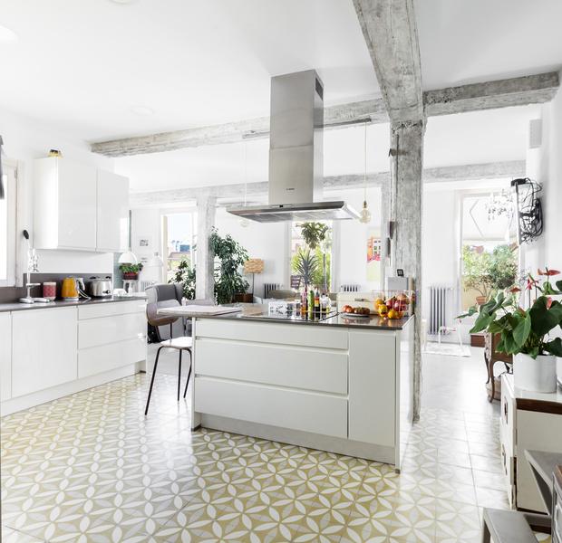 suelo hidráulico reforma madrid estilo nórdico estilo escandinavo madrid distribución abierta decoración interiores baldosa hidraulica