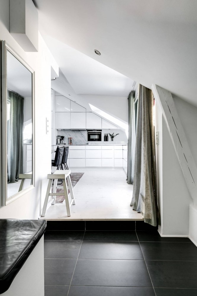ventanas en el techo marmol blanco duplex pequeño diseño áticos dúplex decoración dúplex decoración blanco y negro